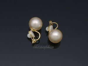 Gorgeous Gold Plated 10mm Cream Pearl Clip On Earrings Non-pierced