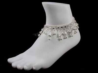 Anklet Ankle Bracelet Jewelry - Silver Tone w/ Bells & Charms (JW190)