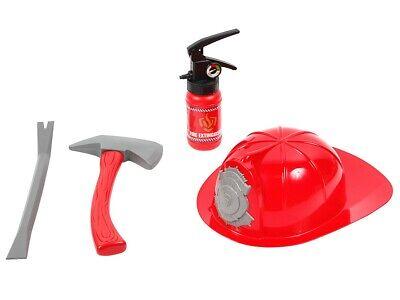 Feuerwehr Kinder Feuerwehrmann Accessoires Set 4- teilig Helm Feuerlöscher Axt ()