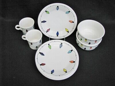 Scarce 9 Pc. Homer Laughlin Fiesta Christmas Lights Bowls, Plates, Cups MINT ()