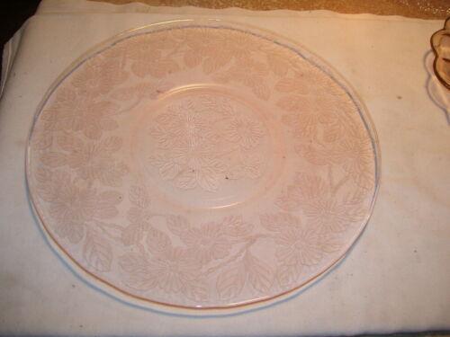 Antique Pink Depression Glass Apple Blossom Dogwood Platter