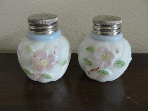 Pair Antique Harry Northwood Salt Shaker Apple Blossom w/Blue Band (aka Cosmos)