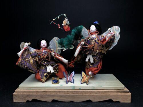 2 Antique NINGYO Japanese Dolls Playing Drums KABUKI Butterflies