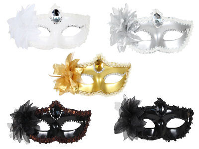 Venezianische  Venezianer Fasching Karneval Augen-Maske Strass Feder - Karneval Venezianische Maske Feder