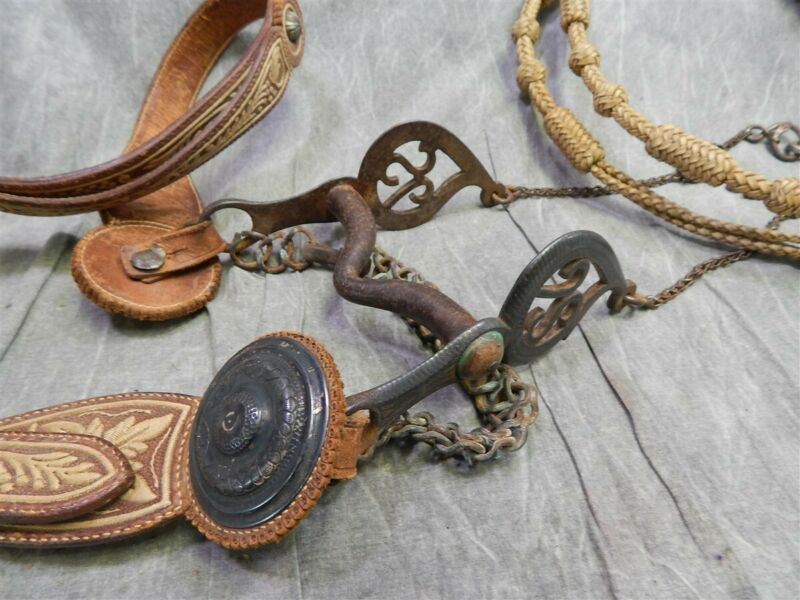 19th Cent. Mexican Military Parade Bridle, Bit & Rawhide Reins w/ Silver Conchos
