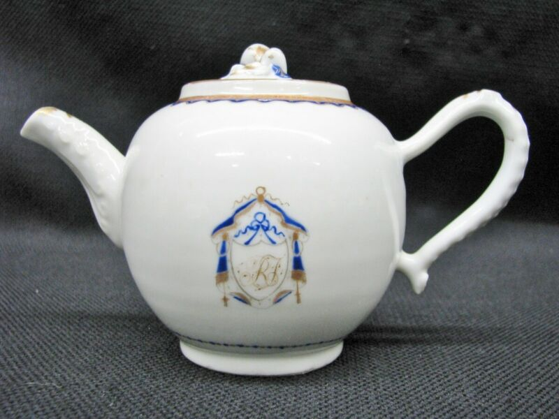 18th Century Chinese Export Cobalt Porcelain Individual Size Teapot; Near Mint