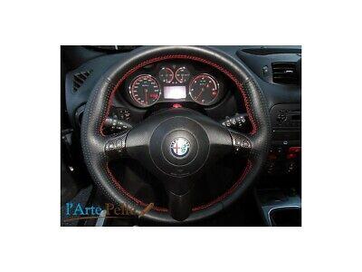 Coprivolante Alfa Romeo 147 Q2 vera pelle traforata cuciture ros