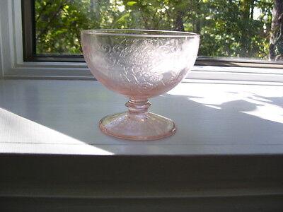 FLORENTINE #1 PINK FOOTED SHERBET---DEPRESSION GLASS PIECE 1930S--EXCELLENT