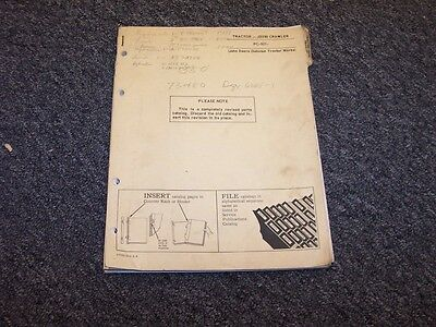 John Deere 350 Crawler Bulldozer Dozer Shop Parts Catalog Manual Pc921