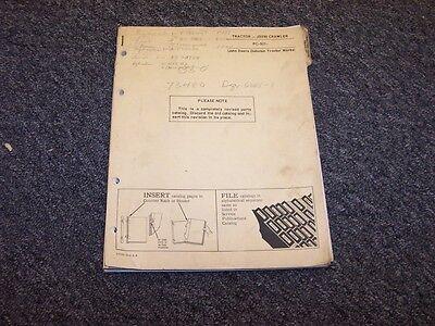 John Deere 350 Crawler Bulldozer Dozer Shop Parts Catalog Manual Pc921