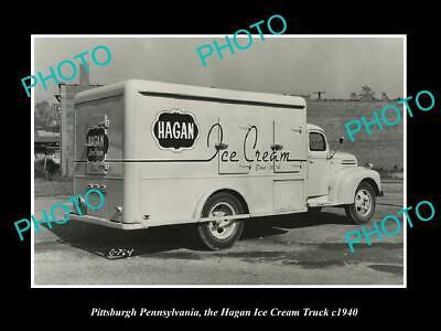 OLD POSTCARD SIZE PHOTO PITTSBURGH PENNSYLVANIA, THE HAGAN ICE CREAM TRUCK 1940