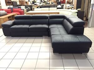 GENUINE LEATHER - CORNER LOUNGE W/ADJUSTABLE HEADRESTS (BLACK) Logan Central Logan Area Preview