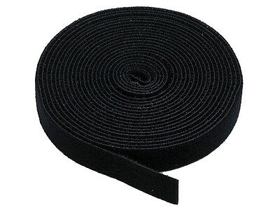 15 ft Cable Tie Fastening Tape Straps 1 Roll Hook and Loop Black 15ft 15'