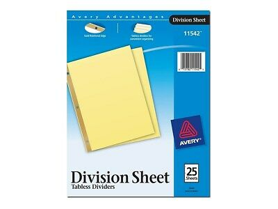 Avery Division Divider Paper 25 Tab Dividers Buff 25pack 11542 483271