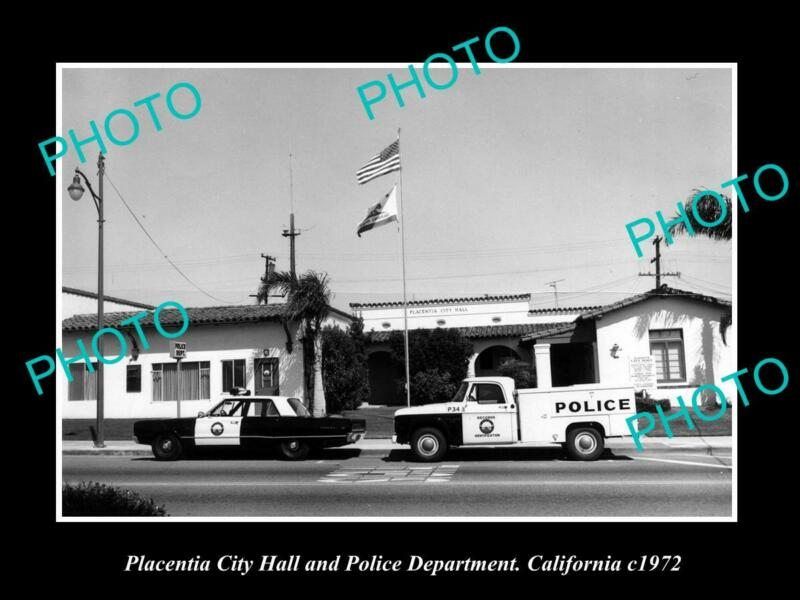 OLD 8x6 HISTORIC PHOTO OF PLACENTIA CALIFORNIA THE POLICE STATION c1972