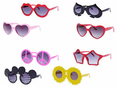 FUN Sonnenbrille Karneval Party Outfit Hippie Brille Peace Herz Hippiebrille