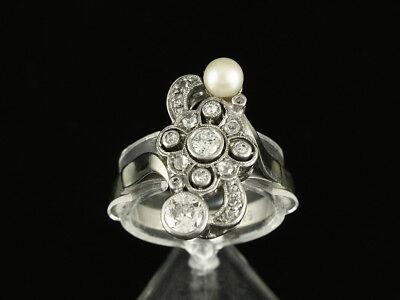 Antiker Diamant Perl Ring ca. 0,55ct  585/- Weißgold (Antike Perle Ring)