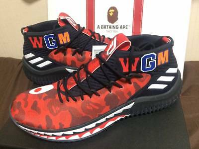 Adidas Originals Bape Dame 4 Damian Lillard Red Camo AP9976 US 9.5 Japan NEW F/S