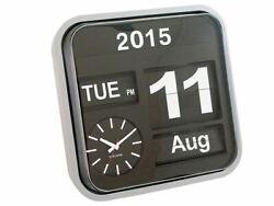 Karlsson Big Flip Retro Wall Clock Silver Calendar Stylish Designer Timepiece