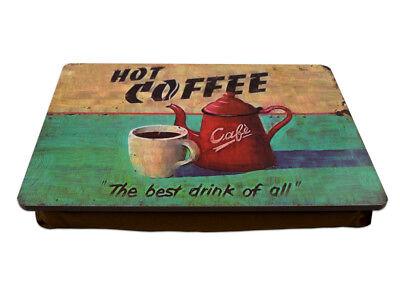 """Knietablett """"Hot Coffee"""" P-893 mit Kissen Laptop Frühstück Tablett Knietisch"""