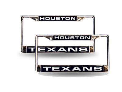 Houston Texans NFL Chrome Metal  Laser Cut License Plate Fra