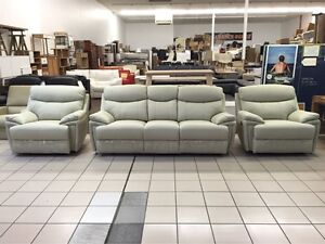 GENUINE LEATHER - 3 SEATER RECLINER + 2 SINGLE RECLINERS Logan Central Logan Area Preview