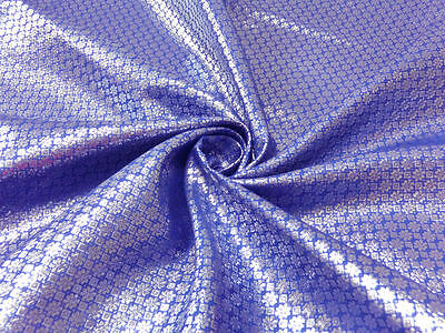 Purple Silver Floral Metallic Brocade Fabric 44