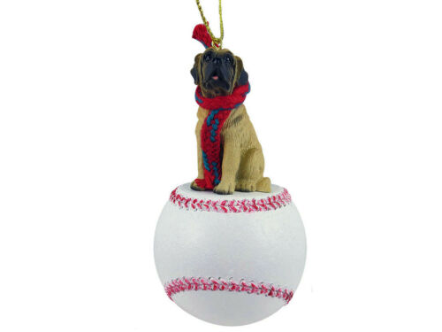 Mastiff Dog Baseball Sports Figurine Ornament