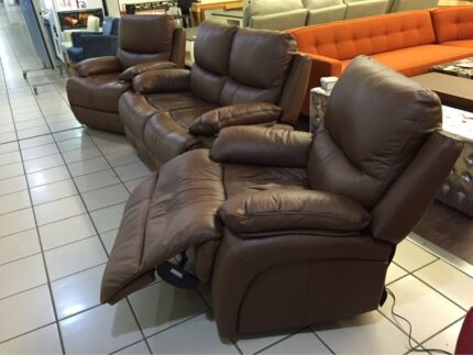 100% LEATHER 2 SEATER DUAL RECLINER + 2 SINGLE ELECT RECLINER Logan Central Logan Area Preview