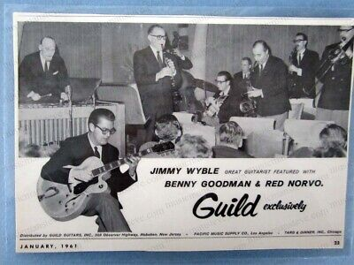 cool ORIGINAL 1961 vintage GUILD GUITARS print ad - Jimmy Wyble playing archtop
