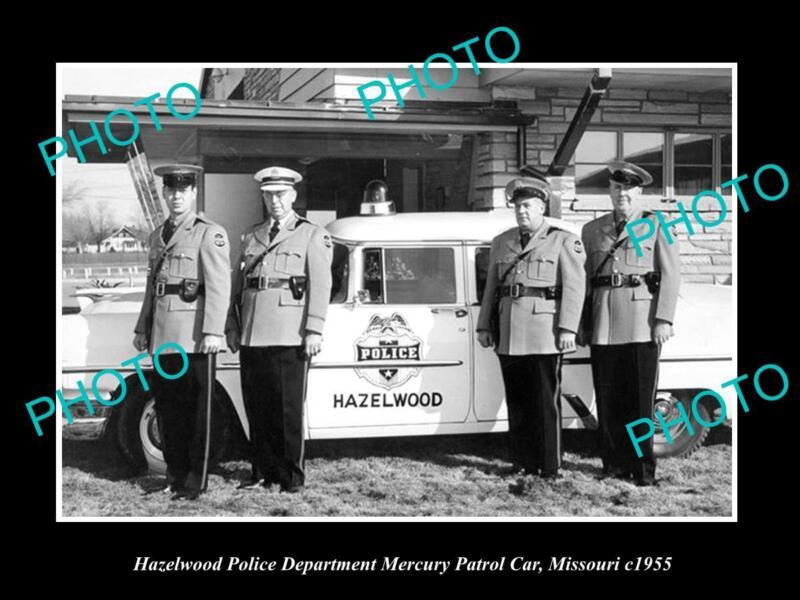 OLD LARGE HISTORIC PHOTO OF HAZELWOOD MISSOURI THE MERCURY POLICE CAR c1955