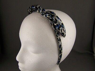 Blue Black cheetah leopard rabbit ears bunny headband hair band accessory - Bunny Ears Black