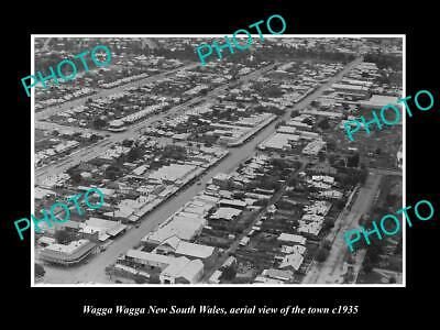 OLD 6 X 4 HISTORIC PHOTO OF WAGGA WAGGA NSW, AERIAL VIEW OF THE TOWN c1935 2 for sale  Shipping to Canada