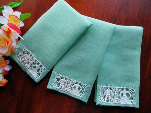 SET: Tiny Antique Italian Towels Handmade Figural Needle Lace GREEN Husband Wife