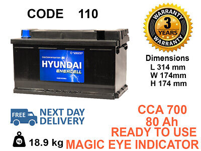110 type Genuine OEM HEAVY DUTY Car Battery 80ah FITS ALL MAKES (BMW.BENZ.AUDI)