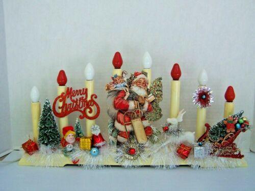 Vintage Christmas 8-light Candolier Decorated Lights!