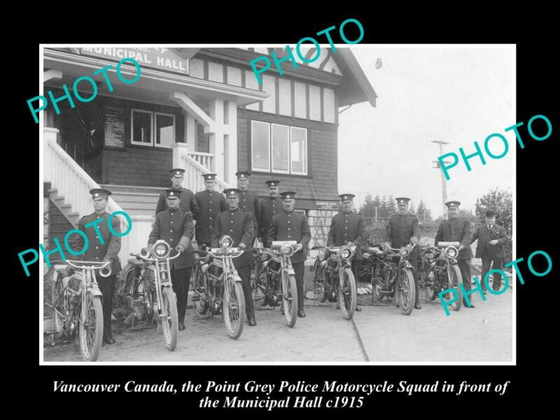 8x6 HISTORIC PHOTO OF VANCOUVER CANADA POINT GREY POLICE MOTORCYCLE SQUAD c1915