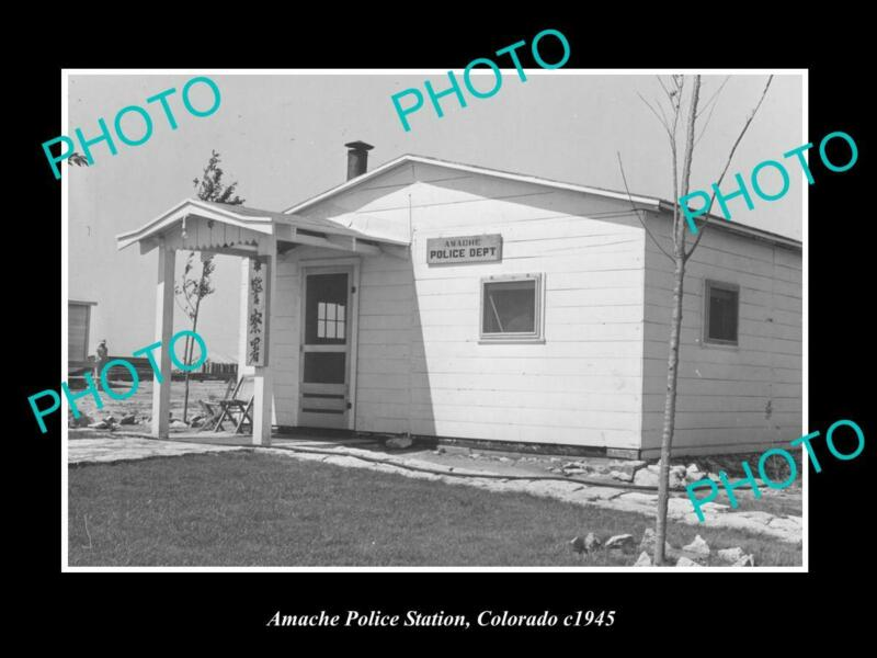 OLD POSTCARD SIZE PHOTO OF AMANCHE COLORADO VIEW OF THE POLICE STATION c1940