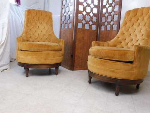 Pair Mid Century Modern Adrian Pearsall Style Plush Tufted Lounge Swivel Chairs