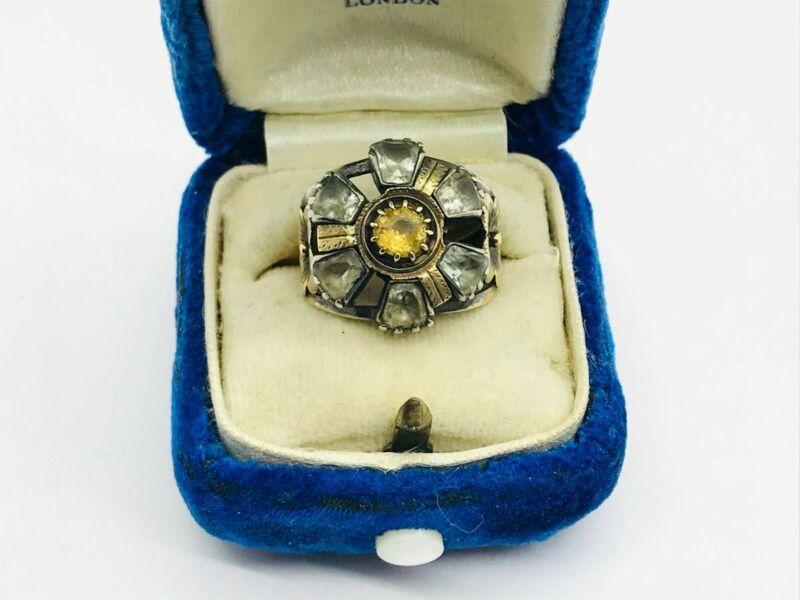 Georgian 14K Rose Gold & Silver Citrine Paste Daisy Flower Cluster Ring