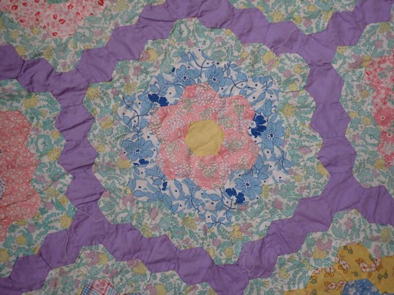 Gorgeous w/ Best Feedsacks! Vintage Lavender Flower Garden QUILT TOP 92x87