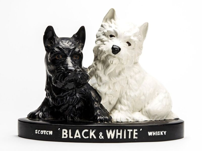 BRENTLEIGH BLACK & WHITE WHISKY ADVERTISING SCOTTIE DOGS