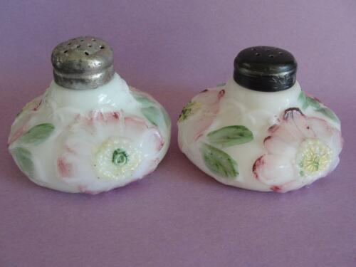 Pair Antique Dithridge & Company Bulge Bottom Art Glass Salt Shakers