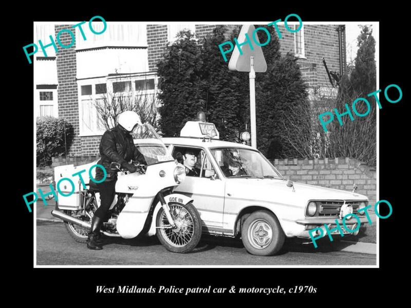 OLD LARGE HISTORIC PHOTO OF BRITISH WEST MIDLANDS POLICE PATROL CAR & BIKE 1970