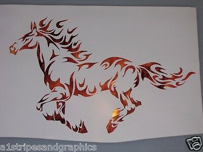 LARGE Mustang Tribal Flame Horse pony Window Decal Decals Trailer Graphics