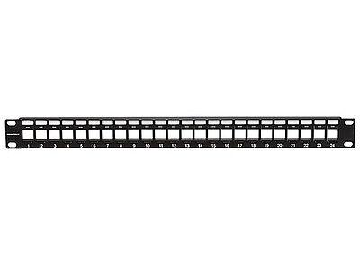 24 Port Keystone Jack Blank Patch Panel Plate Cat5 Cat5e Cat6 Cat6a RJ-45 19