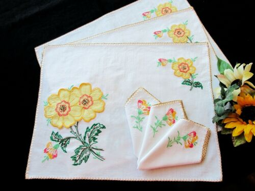 3 White Cotton Hand-Embroidered Placemats & Napkins CALIFORNIA POPPIES Appliqués