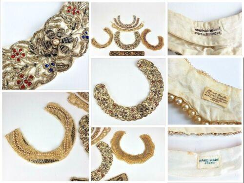 VTG Lot 7 Jeweled Pearl Baar & Beards Beaded Collars India Japan Red Blue Silver
