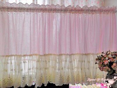 ORIGINAL~Beautiful Striped Fabric Lace Long Ruffle Cafe Curtain~Pink&White~ ()