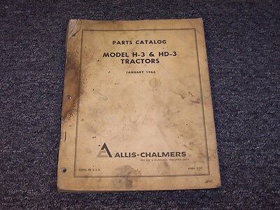 Allis Chalmers H3 Hd3 Crawler Dozer Tractor Original Parts Catalog Manual Book